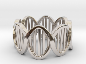 DNA Ring (Size 4) in Rhodium Plated Brass