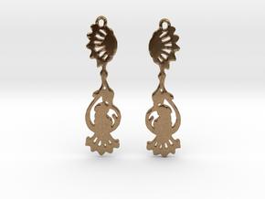 Peacock Earrings in Natural Brass