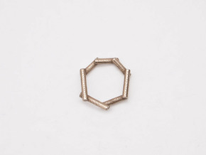Stick ring in Polished Bronzed Silver Steel