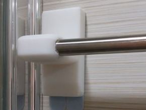 Towel Rod Rail End Support (12.7mm Diameter Rod) in White Natural Versatile Plastic