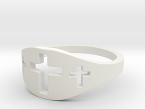Cross Trio Ring Size 7 in White Strong & Flexible
