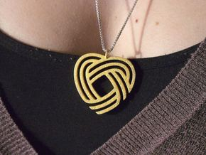 Simply Celtic Heart Necklace in Polished Gold Steel
