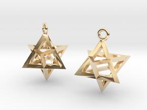 Star Tetrahedron earrings #Silver in 14k Gold Plated Brass