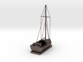 Sailing Ship in Polished Bronzed Silver Steel