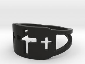 Cross Trio Open Band Ring Size 8 in Black Natural Versatile Plastic