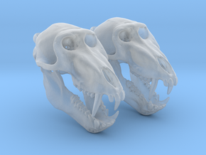 Baboon skull with open jaw - Earring Pair (2) in Smooth Fine Detail Plastic