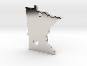 I Love Minnesota Pendant in Rhodium Plated Brass