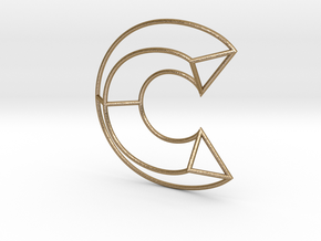 C Typolygon. in Polished Gold Steel