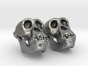 Chimpanzee Skull Earrings (Vertical Loop 25mm)  in Natural Silver