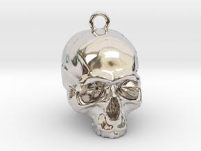 Skull Pendant 2 in Rhodium Plated Brass