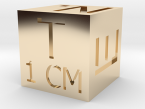 1 CM Photo Scale Cube in 14k Gold Plated Brass