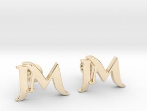 Monogram Cufflinks JM in 14K Yellow Gold