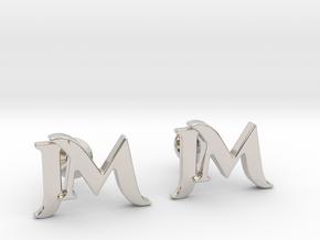 Monogram Cufflinks JM in Platinum