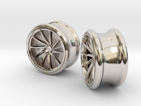 Set of Vossen CVT Gauge EarRings 16mm 5/8' Inner D in Rhodium Plated Brass