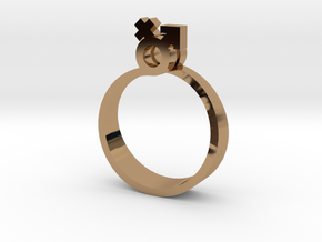 Male-Female Linked ring (US size#6) in Polished Brass
