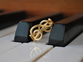 Treble Clef Ring 2 in Polished Gold Steel