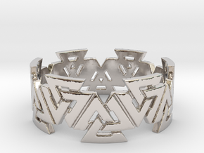 Valknut Ring. Sizes available  in links below. in Rhodium Plated Brass