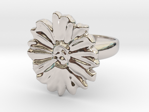 a daisy flower ring in Rhodium Plated Brass