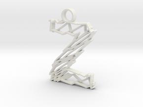 """Sketch """"Z"""" Pendant in White Natural Versatile Plastic"""