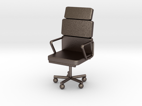 Office Chair in Polished Bronzed Silver Steel