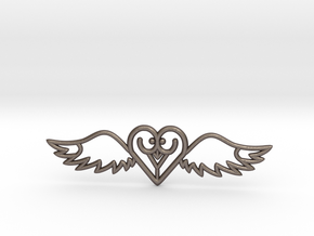 Flying Heart Necklace in Polished Bronzed Silver Steel