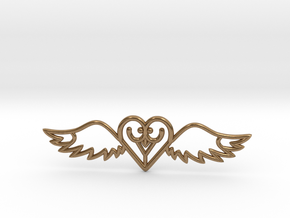 Flying Heart Necklace in Natural Brass