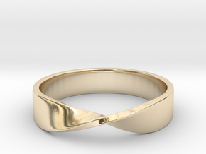 Mobius Ring (Size 7) in 14k Gold Plated Brass
