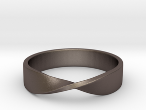 Mobius Ring (Size 7) in Polished Bronzed Silver Steel