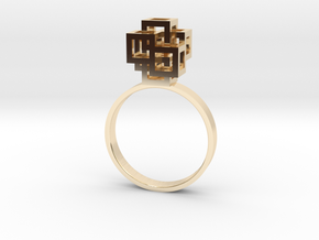 Quadro Ring - US 7 in 14k Gold Plated Brass
