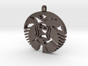 Quinn Coffee Charm in Polished Bronzed Silver Steel