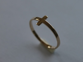 Cross Ring Size 8 in 14k Gold Plated Brass