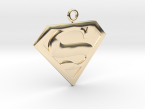 SuperMan Pendant in 14k Gold Plated Brass