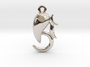 Modern Ganesha pendant in Rhodium Plated Brass
