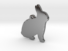 Bunny Necklace Pendant in Polished Silver