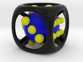 Dice No.1-c Blue L (balanced) (5cm/1.97in) in Full Color Sandstone