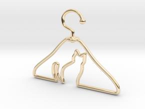 Cat Hanger Pendant in 14k Gold Plated Brass