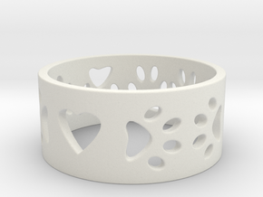 I Love My Dog Ring Ring Size 7 in White Natural Versatile Plastic