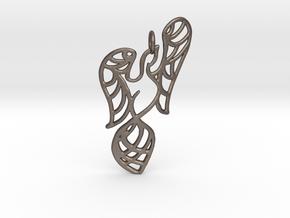 Openwork phoenix Pendant in Polished Bronzed Silver Steel