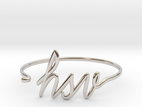 HSV Wire Bracelet (Huntsvegas) in Rhodium Plated Brass