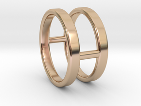 Minimalist Double Bar Ring  in 14k Rose Gold Plated Brass