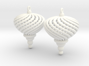 Sphere Swirl Ornaments (pair) in White Processed Versatile Plastic
