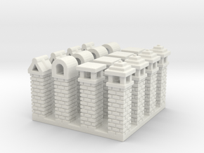 Rustic Italian Chimneys (16) N Scale in White Natural Versatile Plastic