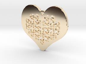Celtic Knot heart Necklace Pendant in 14k Gold Plated Brass