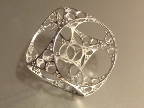 Apollonian Cube Small in Rhodium Plated