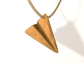 Paper Airplane Pendant in Matte Gold Steel