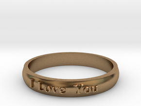 "Ring 'I Love You' - 16.5cm / 0.65"" - Size 6 in Natural Brass"