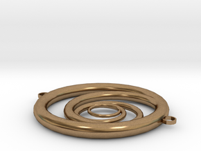 Orbiting Circle Pendant Double Loop in Natural Brass
