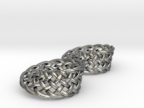 Woven Mobius Earrings in Polished Silver