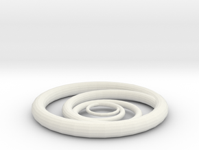Orbiting Circle Pendant Single Loop in White Natural Versatile Plastic