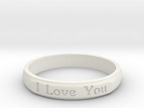 "Ring 'I Love You Inwards' - 16.5cm / 0.65"" - Size  in White Natural Versatile Plastic"